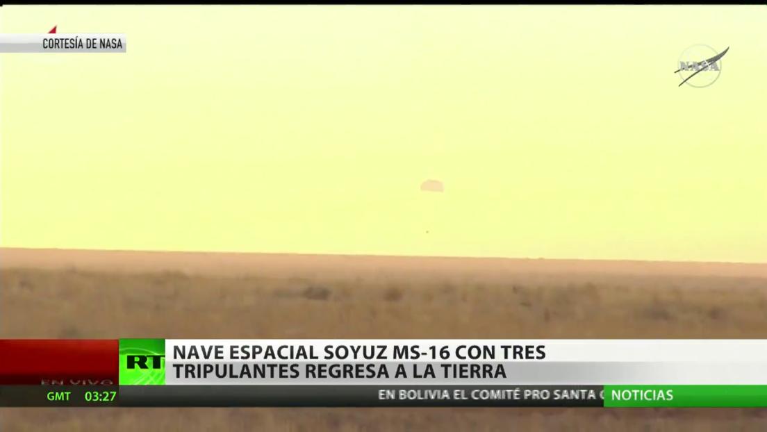 La nave espacial Soyuz MS-16 regresa a la Tierra con tres tripulantes