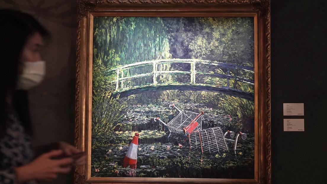 FOTO: Subastan por casi 10 millones de dólares un cuadro de Banksy inspirado en Monet