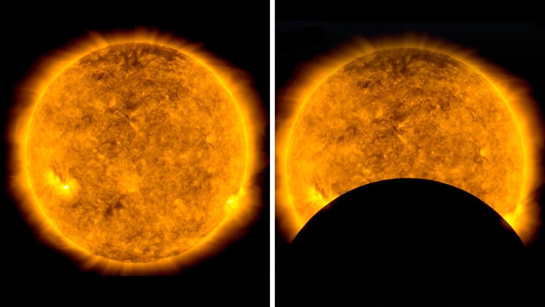 VIDEO: La NASA comparte curiosas imágenes de la Luna 'robando cámara' al Sol mientras transita frente a un telescopio espacial