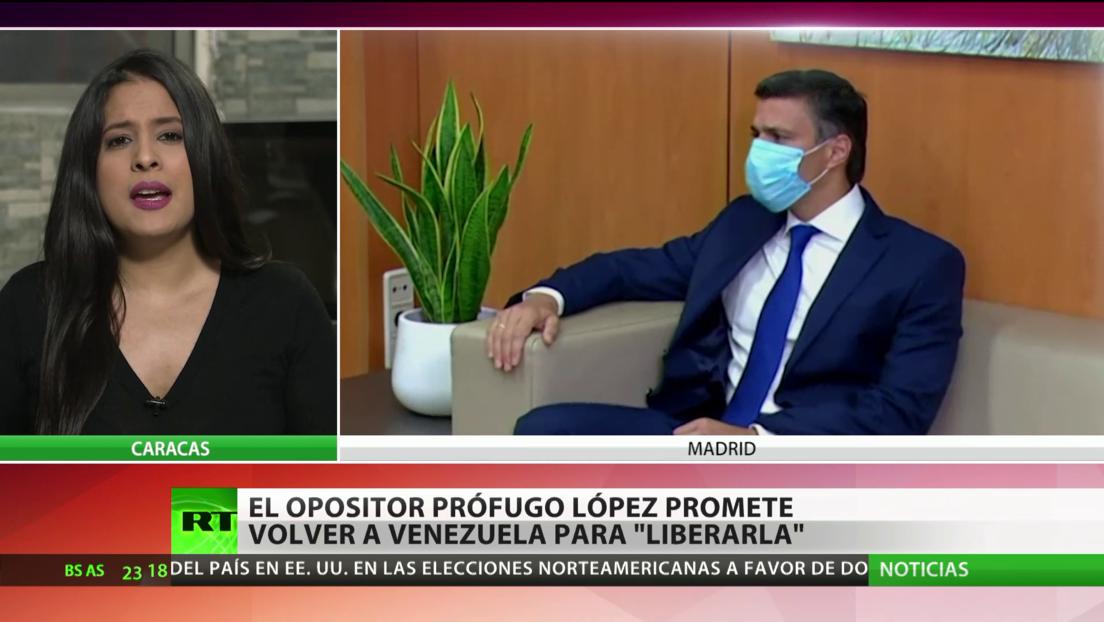 """El opositor Leopoldo López promete volver a Venezuela para """"liberarla"""""""