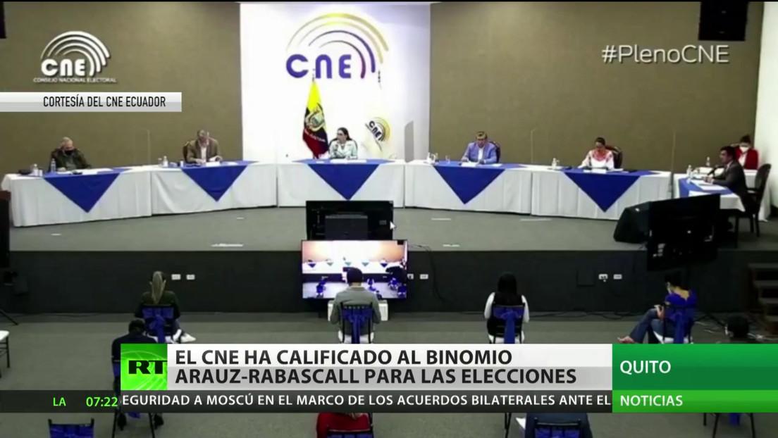 El Consejo Nacional Electoral de Ecuador califica al binomio Arauz- Rabascall para las elecciones