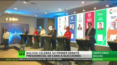 Candidatos presidenciales de Bolivia se ven las caras en debate electoral (VIDEO)