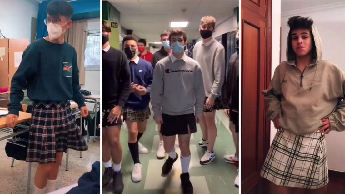 Miles de chicos acuden en falda al instituto en España para solidarizarse  con un joven al que castigaron por llevarla (VIDEOS) - RT