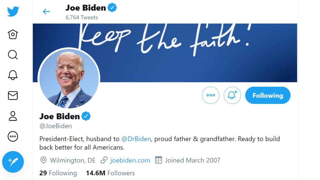 """Joe Biden cambia la descripción en su perfil de Twitter a """"presidente electo"""""""