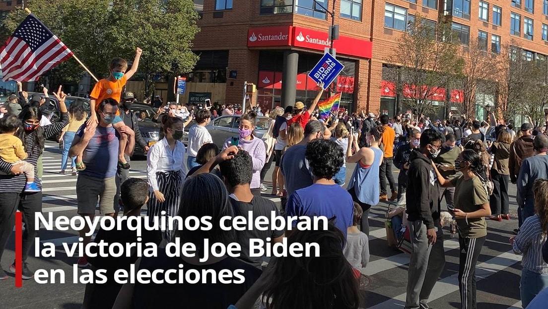 VIDEO: Neoyorquinos celebran la victoria de Joe Biden en las elecciones