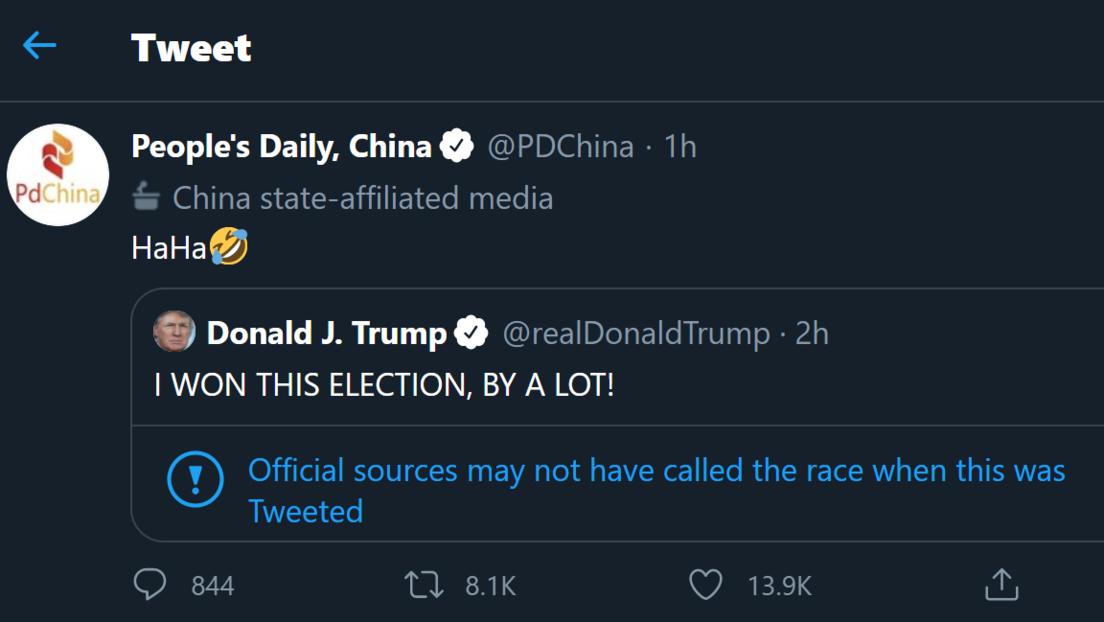"""""""Jaja"""": La reacción del periódico oficial del Partido Comunista de China al tuit de Trump en el que afirmó haber ganado """"por mucho"""" las presidenciales"""