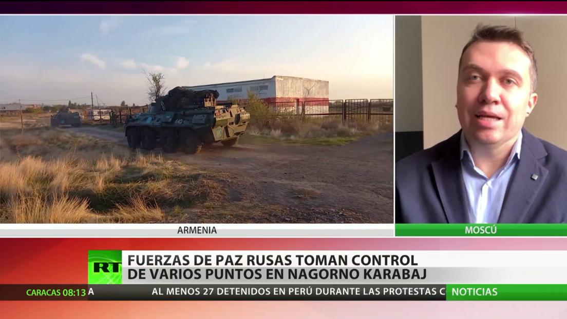 Las fuerzas rusas de paz toman el control de puntos vitales en la zona de conflicto en Nagorno Karabaj