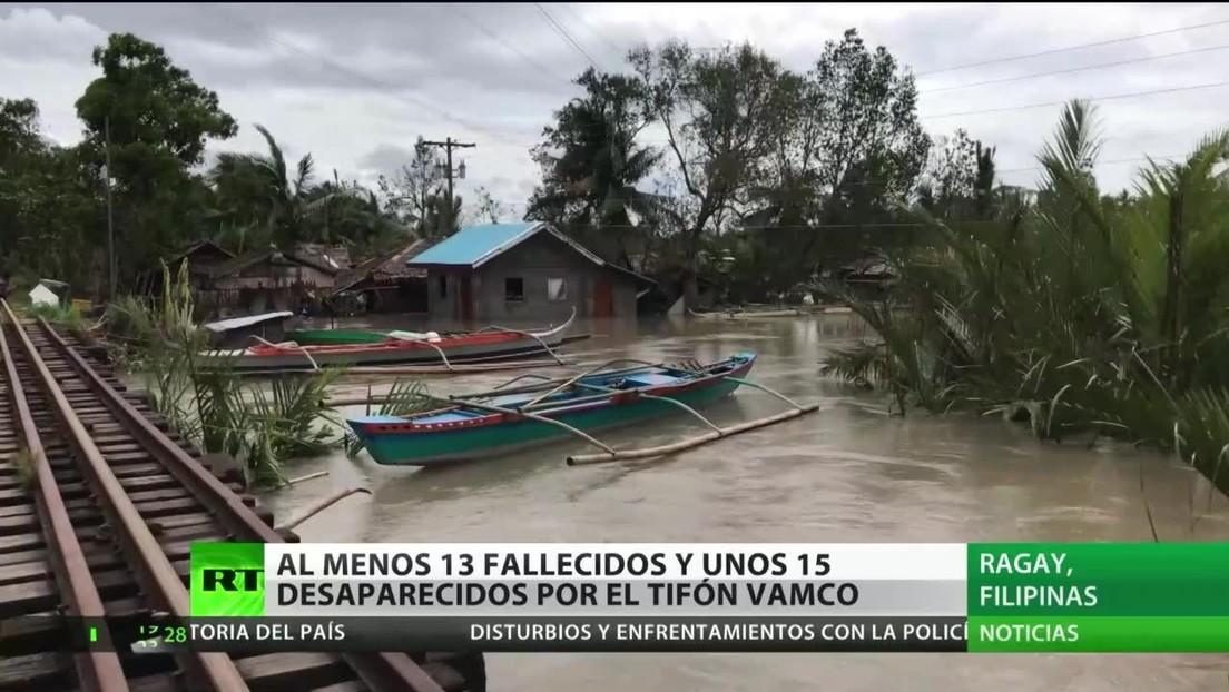 Al menos 13 fallecidos y 15 desaparecidos tras el paso de un tifón en Filipinas