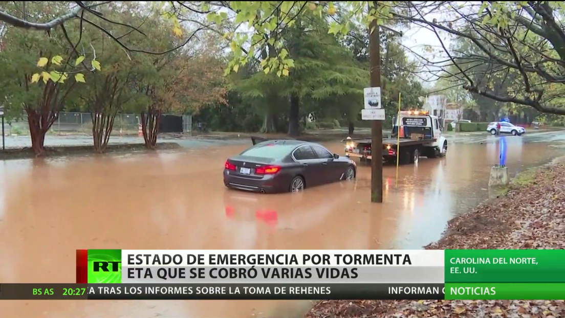 EE.UU.: Declaran estado de emergencia en Carolina del Norte por la tormenta Eta, que dejó varios muertos