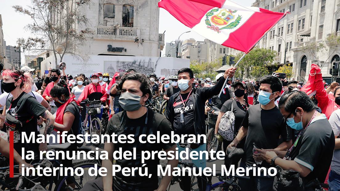 VIDEO: Manifestantes en Perú celebran la renuncia del presidente interino Manuel Merino