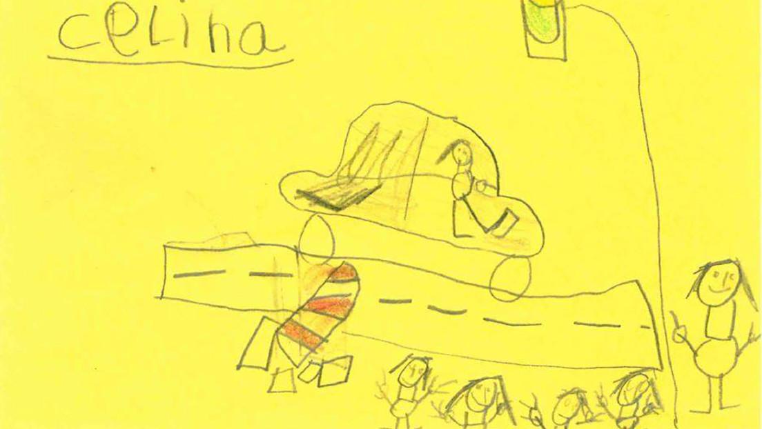 FOTOS: Niños de 6 años presencian un accidente con coche a la fuga y sus dibujos se convierten en parte de la investigación policial