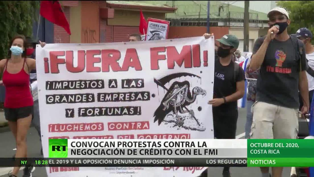 Convocan protestas en Costa Rica contra la negociación de un crédito con el FMI