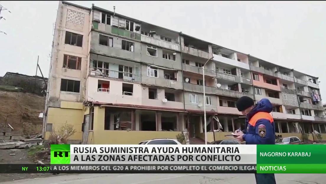 Rusia suministra ayuda humanitaria a las zonas afectadas por el conflicto en Nagorno Karabaj