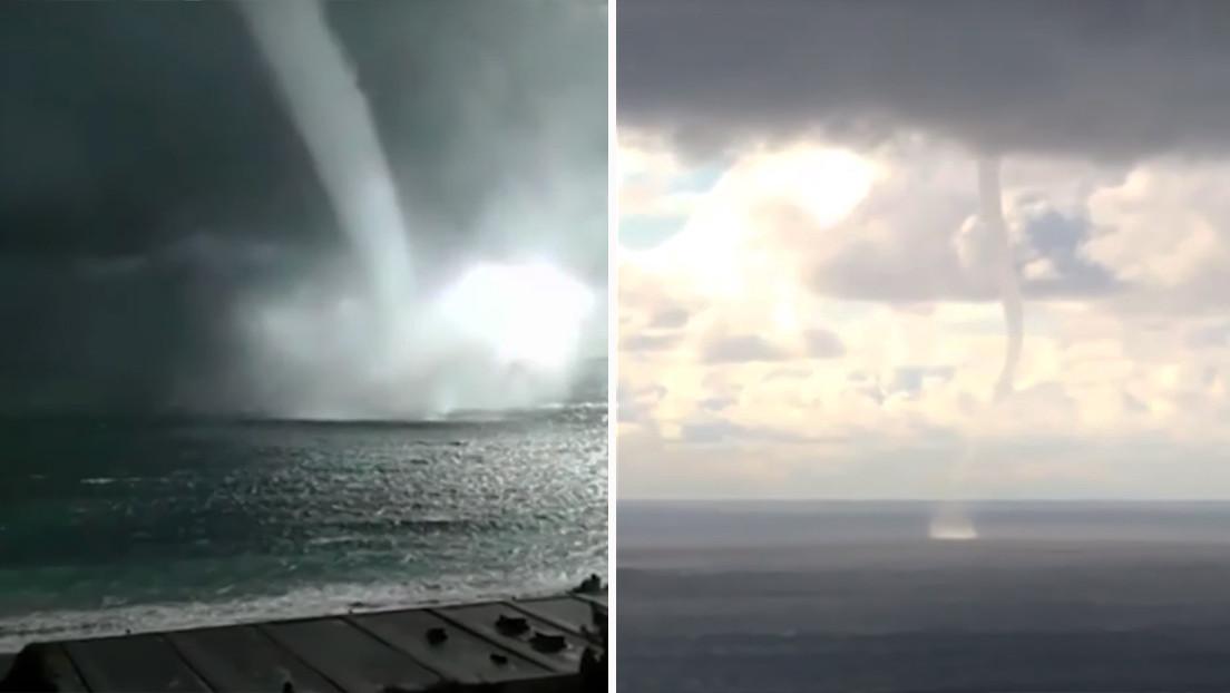 VIDEO: Captan inusuales tornados marinos sobre las costas del mar Negro