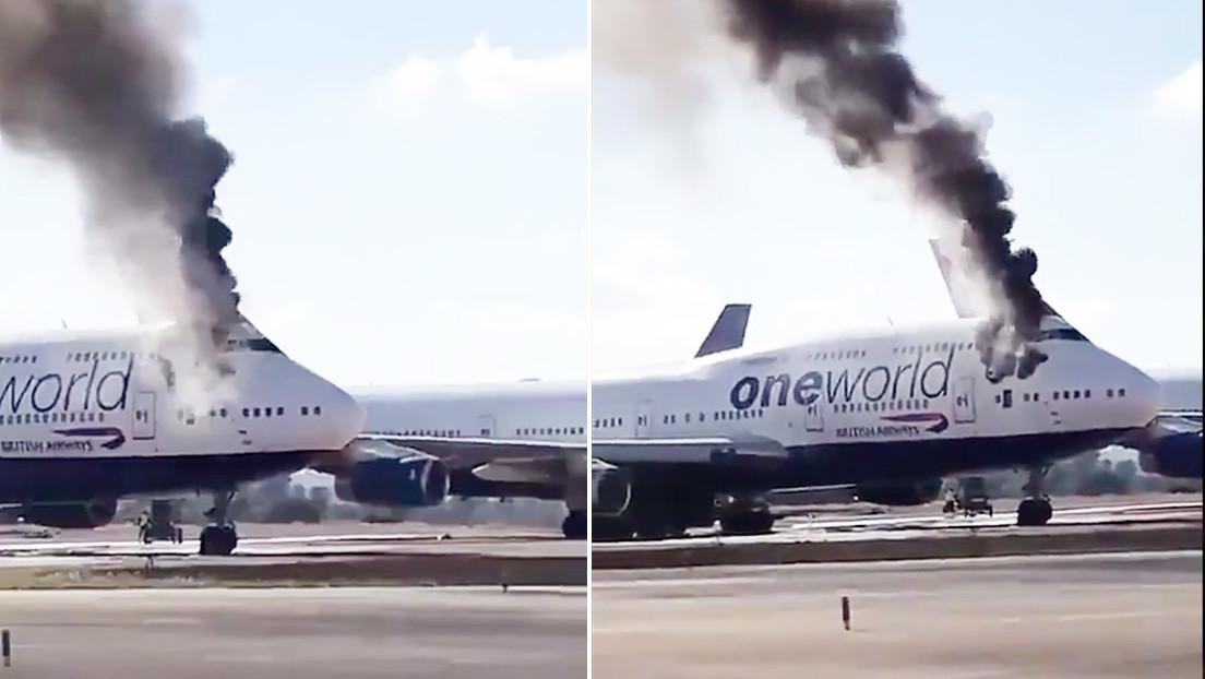 VIDEO: Un Boeing 747 de British Airways se incendia en un aeropuerto de España
