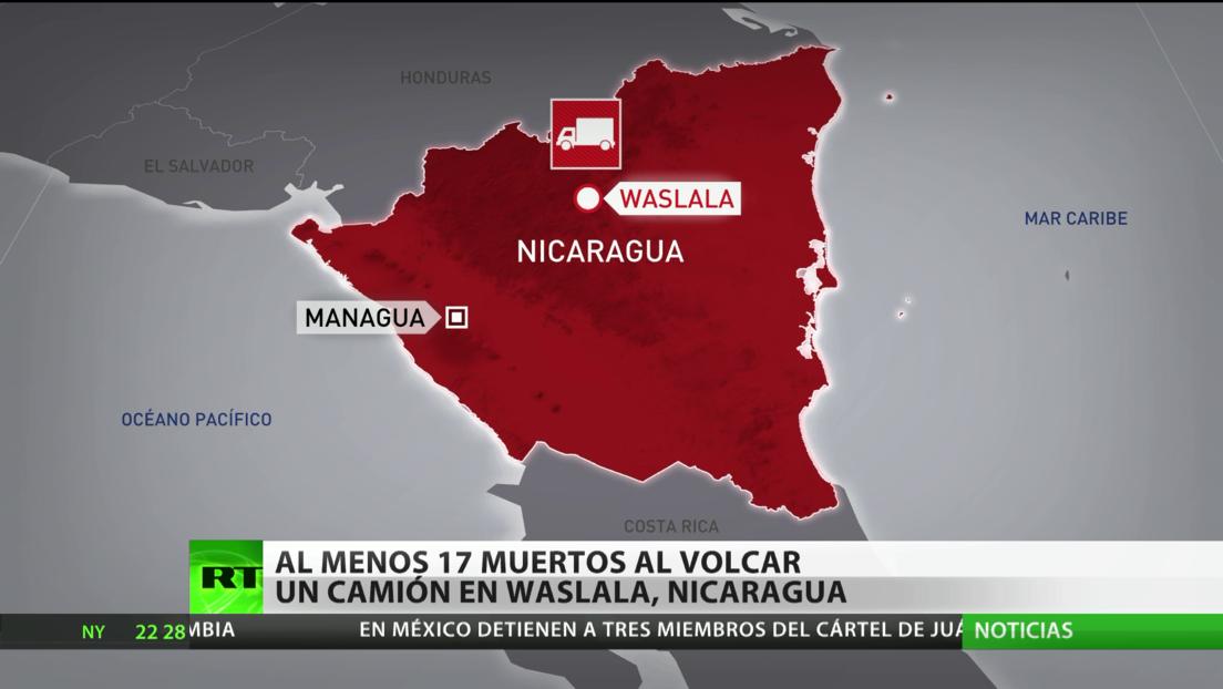 Al menos 17 muertos y 25 heridos tras volcar un camión en Nicaragua