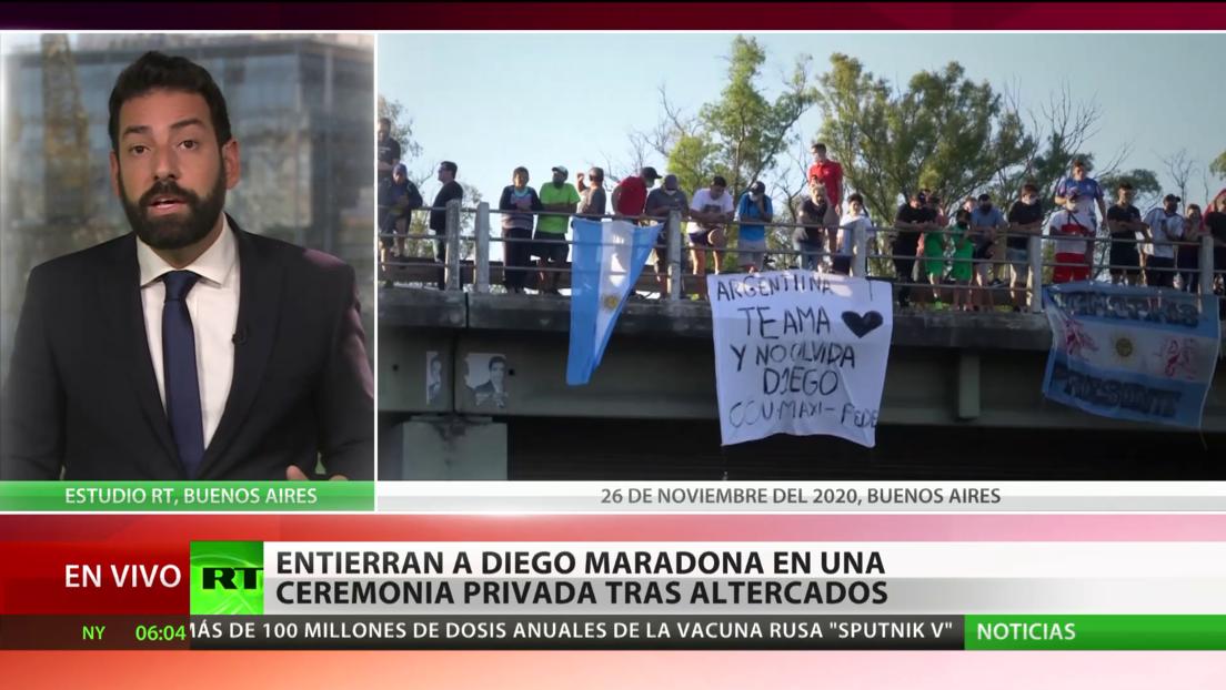 Entierran a Diego Maradona en una ceremonia privada tras altercados en Argentina