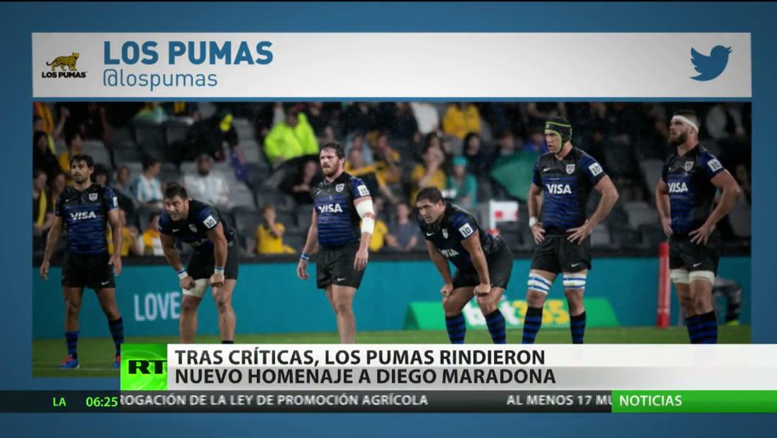 Tras críticas, los Pumas rindieron un vistoso homenaje a Maradona