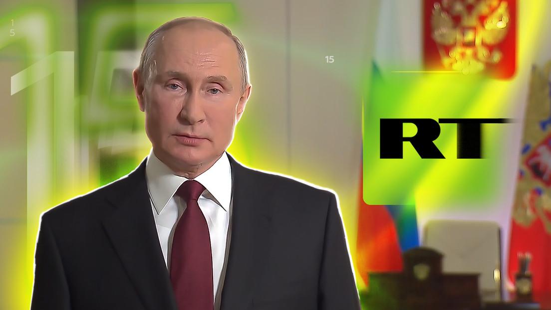 """""""No temen hacer preguntas incómodas"""": Putin felicita a RT por su 15.º aniversario"""