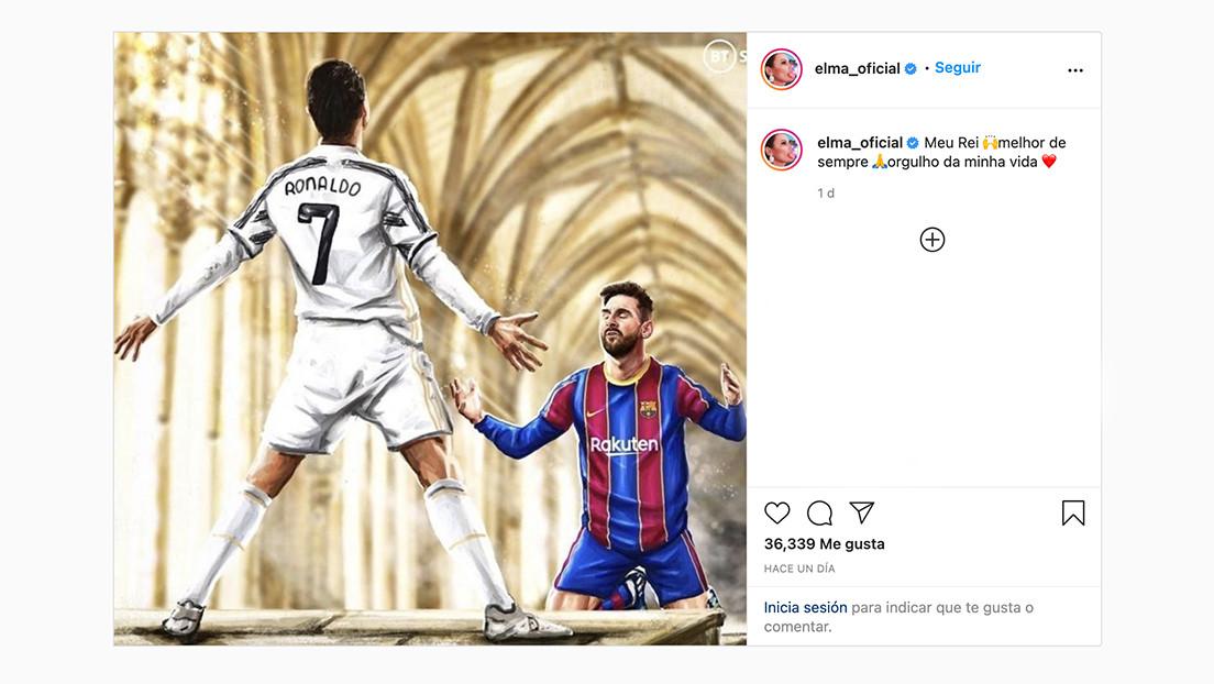 La hermana de Cristiano Ronaldo 'arrodilla' a Messi frente a una imagen del portugués y estalla la Red