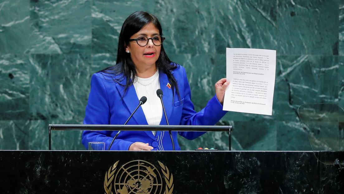 """Vicepresidenta de Venezuela afirma que su país presentó ante la CPI """"suficientes pruebas"""" contra EE.UU. por crímenes de lesa humanidad"""