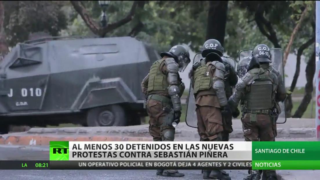 Detienen a al menos 30 personas durante las nuevas protestas contra Sebastián Piñera en Chile