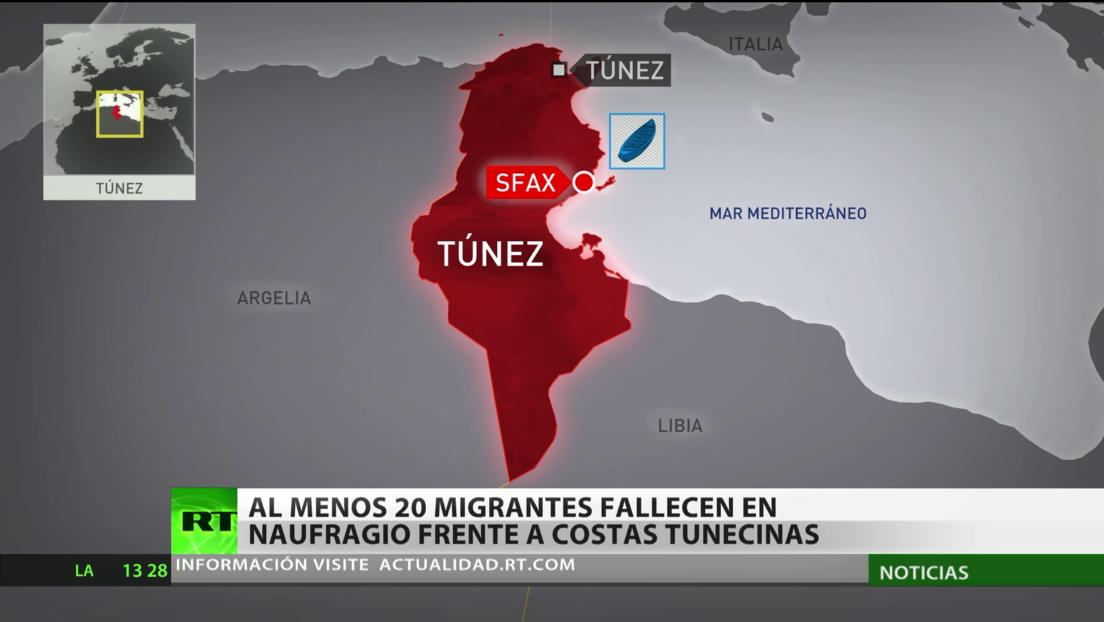 Al menos 20 migrantes mueren en un naufragio frente a las costas de Túnez