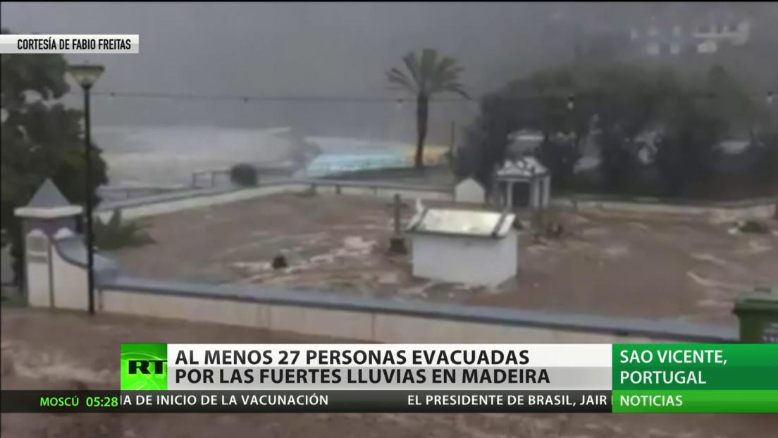 Portugal: Al menos 27 personas evacuadas por las fuertes lluvias en la isla de Madeira