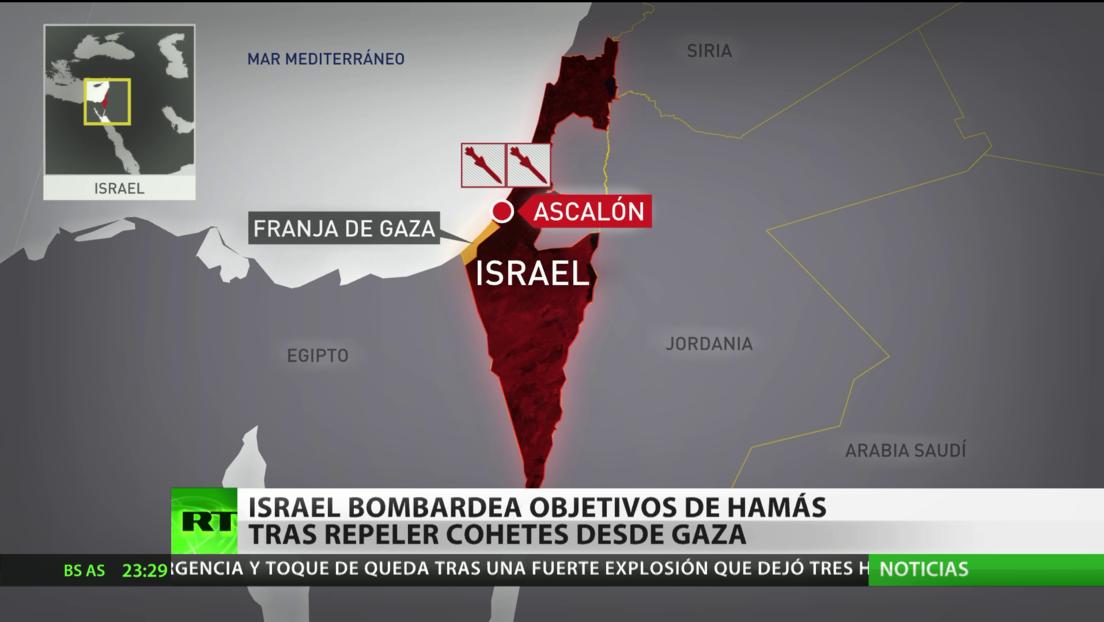 Israel bombardea objetivos de Hamás tras repeler proyectiles desde la Franja de Gaza