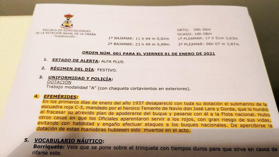 """Destituyen a un capitán de fragata de la Armada española por celebrar el hundimiento de un submarino de """"la escuadra roja"""" durante la Guerra Civil"""