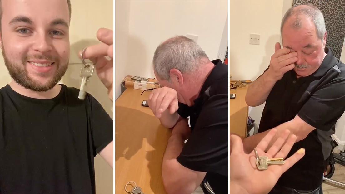 """VIDEO: El padre de un 'youtuber' rompe en llanto al enterarse de que su hijo le pagó """"cada centavo"""" de su hipoteca"""