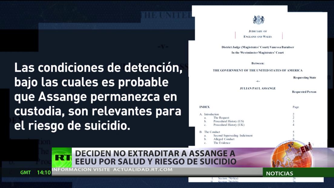 Tribunal de Londres decide no extraditar a Assange a EE.UU. por motivos de salud y riesgo de suicidio