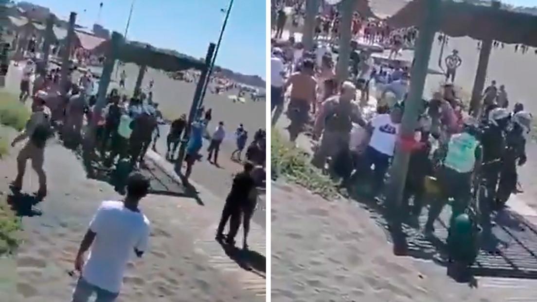 VIDEO: Veraneantes se enfrentan a carabineros para evitar la detención de tres narcotraficantes en una playa de Chile