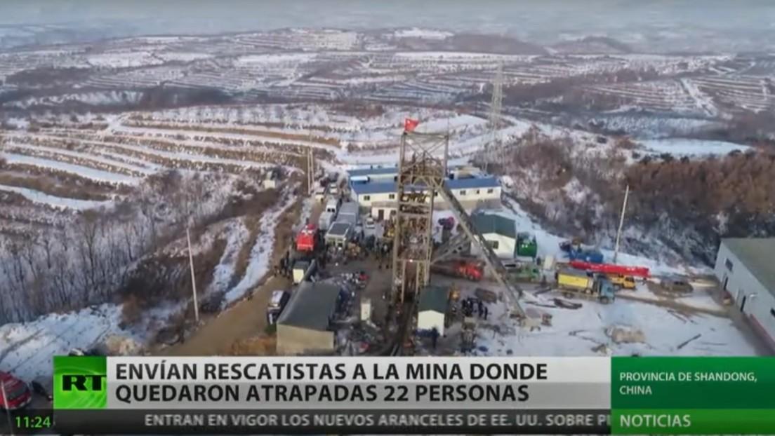 China envía rescatistas a una mina donde quedaron atrapadas 22 personas
