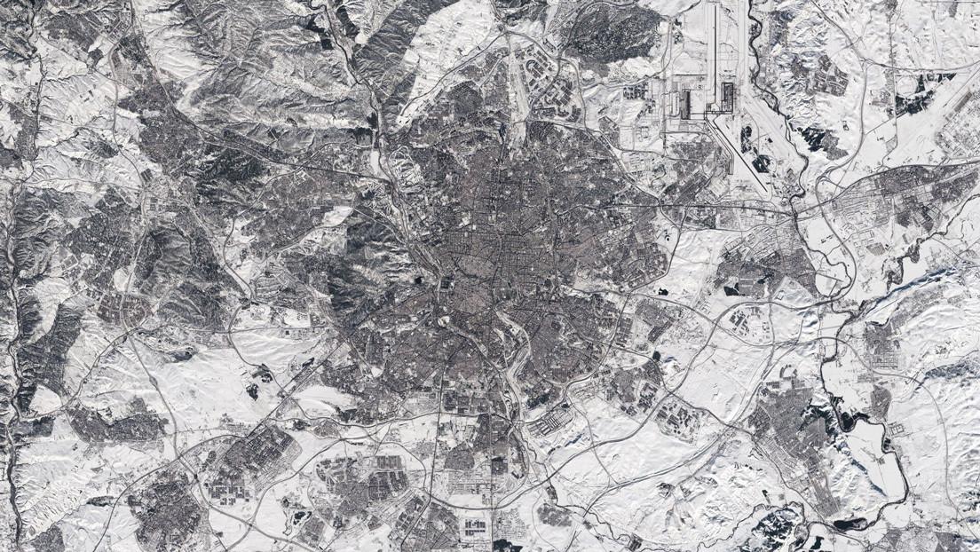 Sorprendentes fotografías satelitales de Madrid cubierta de nieve