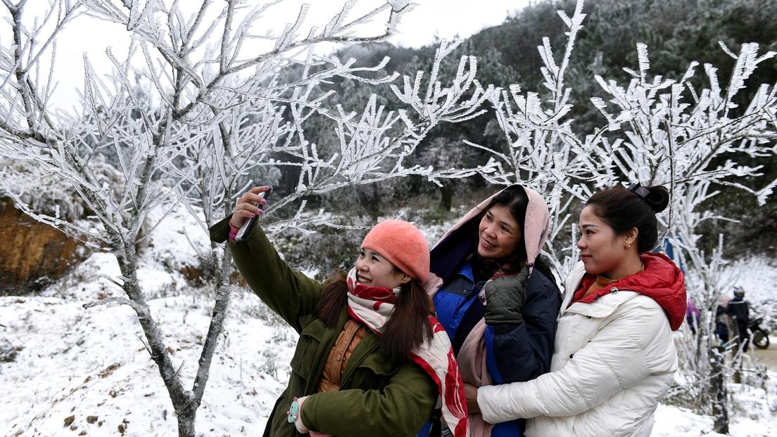 FOTOS: Raras e inusuales nevadas en Vietnam y Laos atraen la atención de propios y turistas