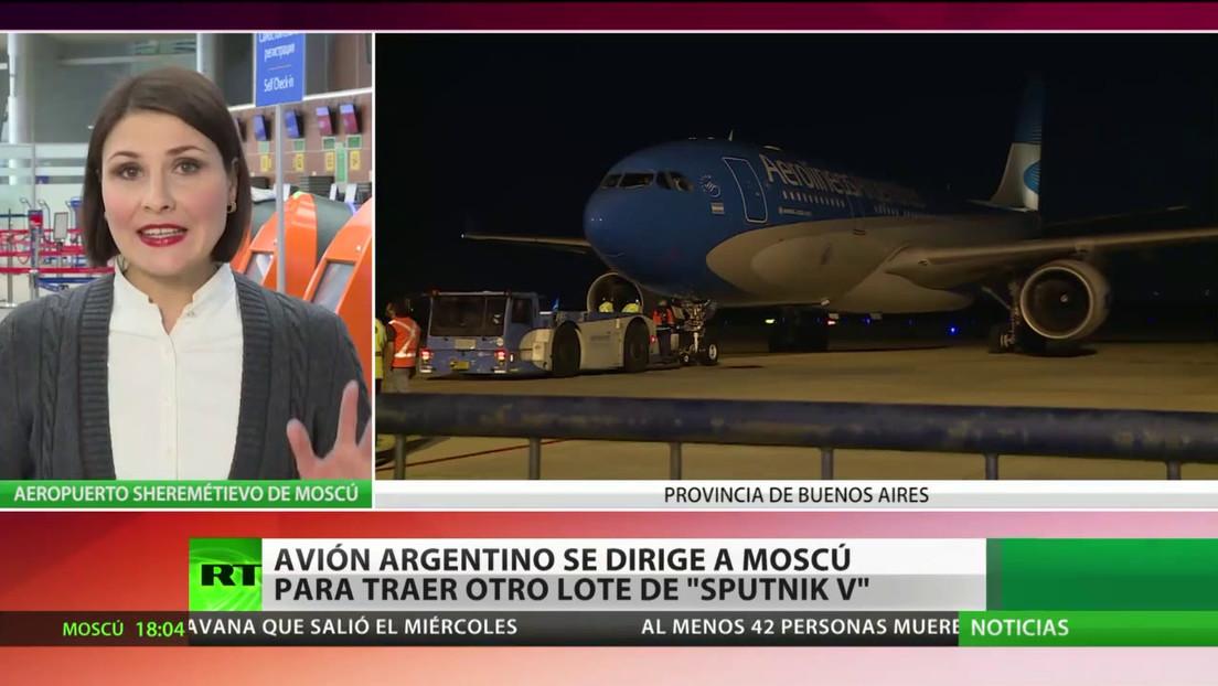 El segundo avión argentino se dirige a Rusia para traer otro lote de la vacuna Sputnik V