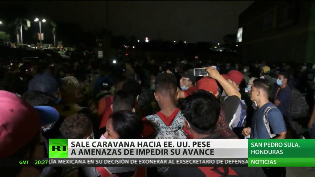 Una caravana de centroamericanos sale hacia EE.UU. pese a las amenazas de impedir su avance
