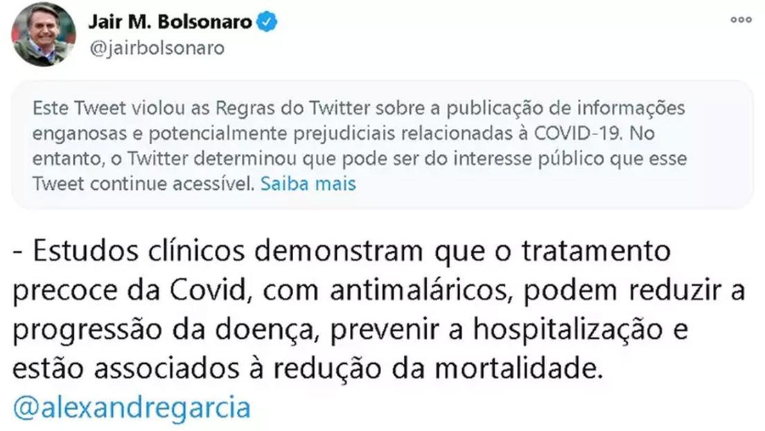 """Twitter marca una publicación de Bolsonaro como """"información engañosa y potencialmente dañina  sobre covid-19"""""""