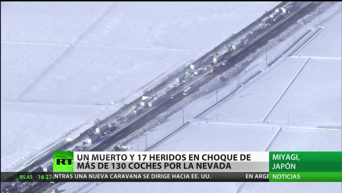 Japón: Un choque de más de 130 coches en medio fuertes nevadas deja un muerto y 17 heridos