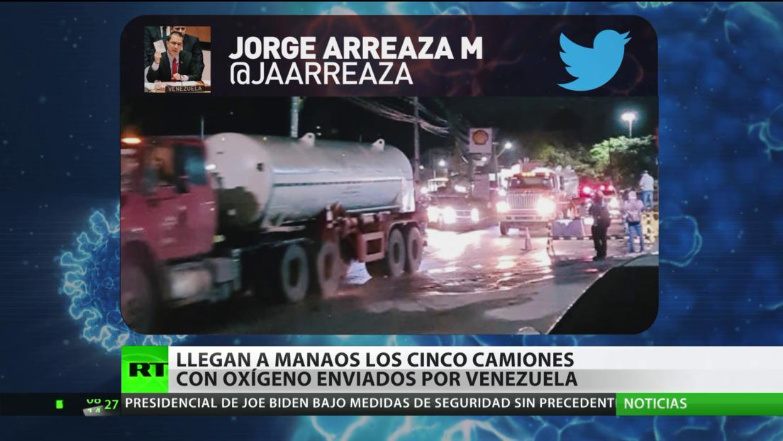 Llegan a Manaos los cinco camiones con oxígeno enviados por Venezuela