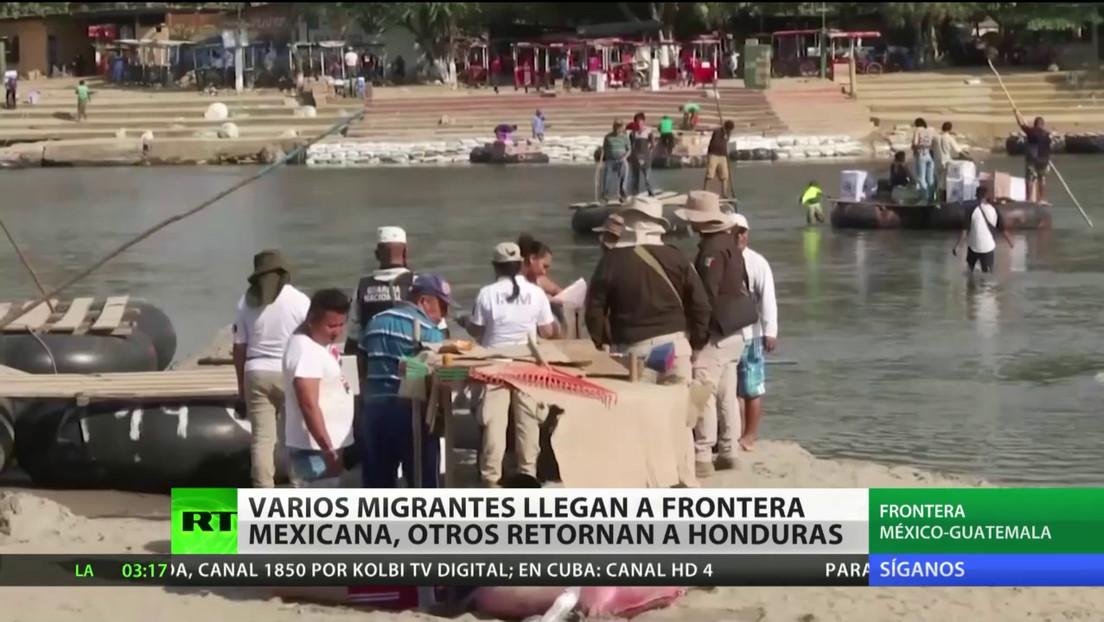 Grupos de migrantes llegan a la frontera entre Guatemala y México