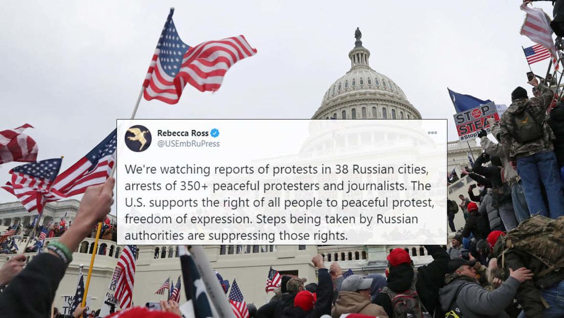 """""""Cuando sucedió en EE.UU. lo tacharon de 'ataque a la democracia'"""": Moscú arremete contra Washington por apoyar protestas no autorizadas en Rusia"""