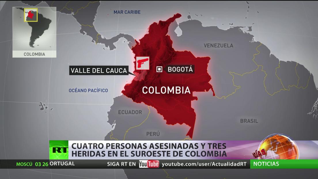 Un ataque con armas de fuego en una finca de Colombia deja cuatro muertos y tres heridos
