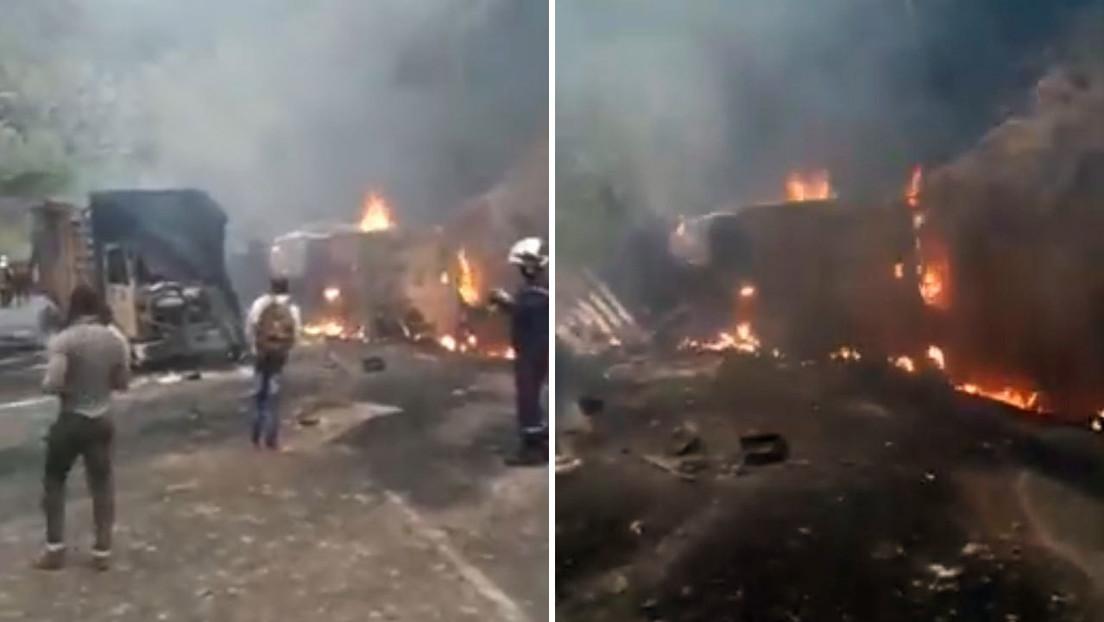 Un camión con combustible choca a gran velocidad contra un autobús provocando un incendio y más de 50 muertos en Camerún (VIDEO)