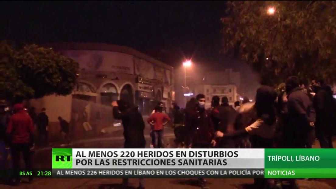 Al menos 226 personas resultan heridas en disturbios por restricciones sanitarias en el Líbano