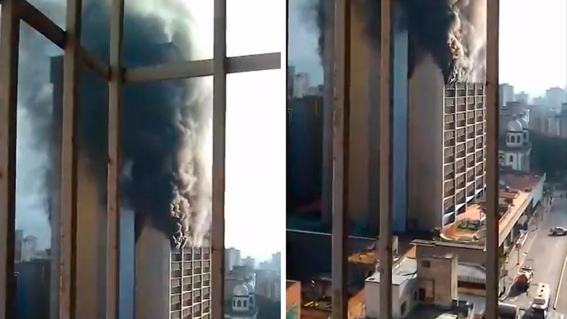 VIDEOS: Se registra un incendio en la sede del Ministerio de Educación de Venezuela