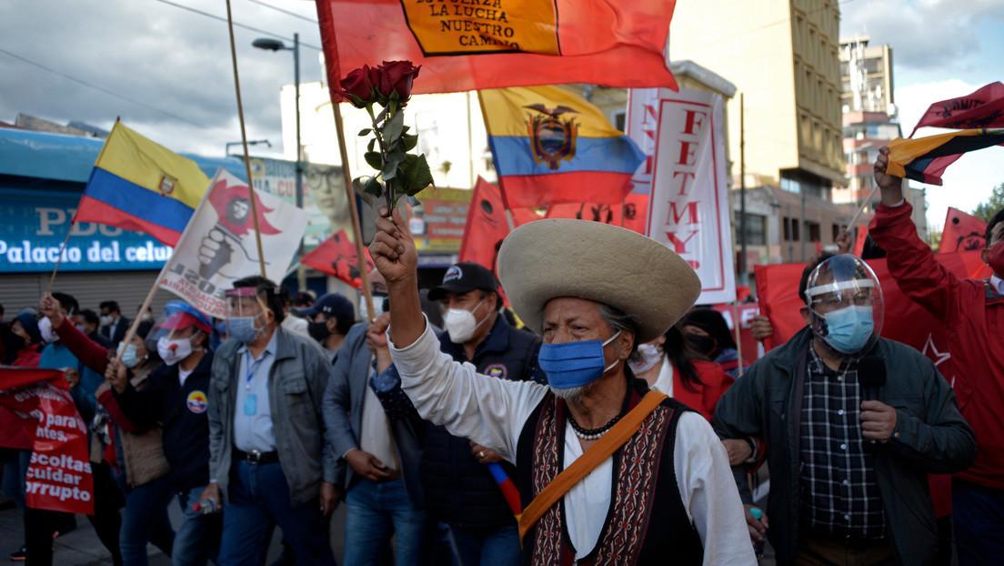 """Trabajadores ecuatorianos protestan contra las """"medidas regresivas"""" del gobierno de Lenín Moreno"""