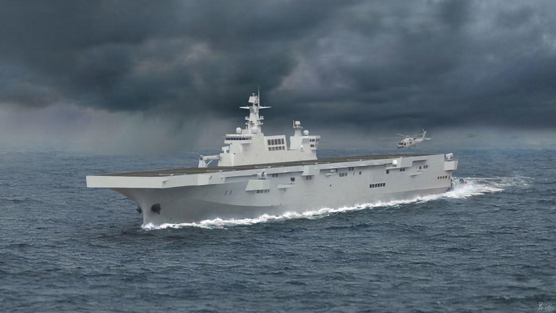 VIDEO: China bota un buque de asalto anfibio de nueva generación, capaz de portar 30 helicópteros de ataque