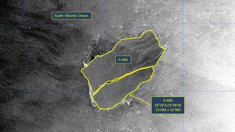 El gigantesco iceberg A-68A sufre otra gran fragmentación camino a una isla refugio de vida silvestre en la Antártida (VIDEO)